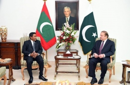 Pakistan PM Nawaz Sharif (R) holds the official talks with President Yameen during the latter's state visit to Pakistan last year. FILE PHOTO/PRESIDENT'S OFFICE