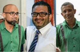 From left to right: Former MMPRC head Ziyath, former VP Adheeb and prominent businessman Hamid Ismail