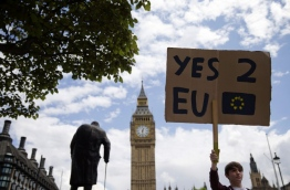 A demonstrator holds a placard during a protest against the outcome of the UK's June 23 referendum on the European Union (EU), in central London on June 25, 2016.The result of Britain's June 23 referendum vote to leave the European Union (EU) has pitted parents against children, cities against rural areas, north against south and university graduates against those with fewer qualifications. London, Scotland and Northern Ireland voted to remain in the EU but Wales and large swathes of England, particularly former industrial hubs in the north with many disaffected workers, backed a Brexit. / AFP PHOTO / JUSTIN TALLIS