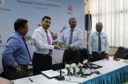 Maldives Ports Limited (MPL)'s CEO Abdulla Junaid (2ND R) signed the agreement with China's SANY Heavy Industry Co., Ltd at a ceremony held at MPL. PHOTO/MPL
