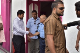 PPM leader Gayoom pictured outside his party office after a sit-down with key party officials on Thursday. MIHAARU PHOTO/MOHAMED SHARUHAAN