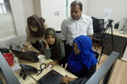 Some staff of Mihaaru pictured at work. PHOTO/MIHAARU