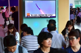 North Korea on July 9 test-fired what appeared to be a submarine-launched ballistic missile (SLBM), Seoul's defence ministry said, a day after the US and South Korea decided to deploy an advanced missile defence system in the South. / AFP PHOTO / JUNG YEON-JE