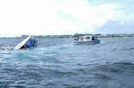 A capsized vessel near the capital Male. MIHAARU FILE PHOTO
