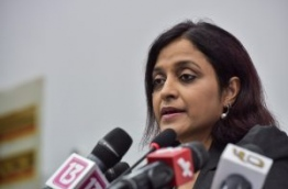 Foreign Minister Dhunya Maumoon pictured during a press conference. MIHAARU FILE PHOTO