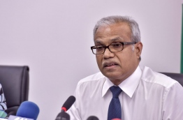 Newly appointed foreign minister Dr Mohamed Asim speaks during his first press conference on Wednesday. MIHAARU PHOTO/NISHAN ALI