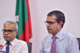 Foreign Secretary Dr Ali Naseer (R) speaks during the press conference as his new boss, foreign minister Dr Mohamed Asim looks on. MIHAARU PHOTO/NISHAN ALI