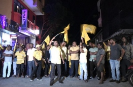 MDP supporters gathered for the march to mark its 11th anniversary on Monday. MIHAARU PHOTO/ALI NAAFIZ