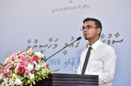 "Newly appointed finance minister Ahmed Munavvar speaks during the inauguration of  ""Clean Maldives"" a national convention on waste management on Saturday. MIHAARU PHOTO/NISHAN ALI"
