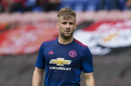 Manchester United's English defender Luke Shaw is pictured during the pre-season friendly football match between Wigan Athletic and Manchester United at the DW stadium in Wigan, northwest England, on July 16, 2016. JON SUPER / AFP