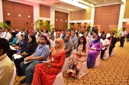Shareholders pictured during the Bank of Maldives annual general meeting. MIHAARU FILE PHOTO/MOHAMED SHARUHAAN