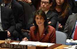 US ambassador to the United Nations, Nikki Haley speaks during a UN Security Council meeting, at United Nations Headquarters in New York, on April 10, 2018. Russia on Tuesday vetoed a US-drafted United Nations Security Council resolution that would have set up an investigation into chemical weapons use in Syria following the alleged toxic gas attack in Douma. It was the 12th time that Russia has used its veto power at the council to block action targeting its Syrian ally.  / AFP PHOTO / HECTOR RETAMAL