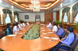 President Abdulla Yameen Abdul Gayoom meets his cabinet after a recent reshuffle. PHOTO/PRESIDENT'S OFFICE