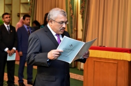 Abdulla Jihad taking the oath as the new vice president in June. PHOTO/PRESIDENT'S OFFICE