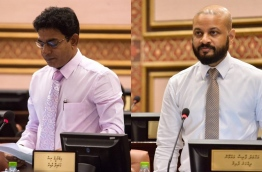 MP Ibrahim 'Waddey' Waheed (L) and Faaris Maumoon pictured in parliament.