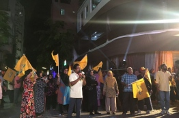 Protesters pictured during a MDP protest last week. MIHAARU FILE PHOTO