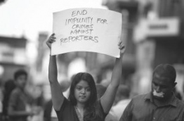 Some local journalists pictured during a protest in capital male calling on the government to ensure media freedom in the Maldives. FILE PHOTO