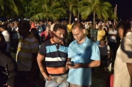 Opposition supporters gathered for the first anti-government rally held by the newly formed opposition alliance on Thursday evening. MIHAARU PHOTO/MOHAMED SHARUHAAN