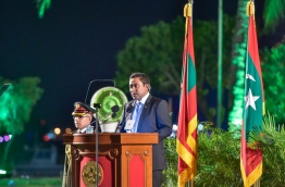 President Yameen addressing the nation on the 51st anniversary of independence. MIHAARU PHOTO/MOHAMED SHARUHAAN