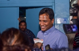 Former home minister Umar Naseer pictured speaking to reporters early this month. MIHAARU FILE PHOTO
