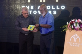 The Apollo Towers, being constructed in the Yacht Marina area located on the northwest coast of Hulhumale for MVR 200 million, was inaugurated by vice president Abdullah Jihad and Apollo Holdings' managing director Abdul Muhsin. MIHAARU PHOTO/MOHAMED SHARUHAAN