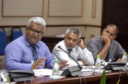 Media council members pictured during the sit-down with the parliamentary committee reviewing the defamation bill on Wednesday. MIHAARU PHOTO/NISHAN ALI