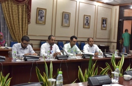 Top journalists from Maldives' only newspaper Mihaaru pictured at the parliamentary committee reviewing the defamation bill on Wednesday. MIHAARU PHOTO/MOHAMED SHARUHAAN