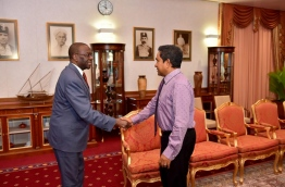 President Yameen meets the Commonwealth special envoy Willy Mutunga on Thursday. PHOTO/PRESIDENT'S OFFICE