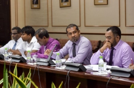 Some lawmakers of the 11 member parliamentary committee tasked with reviewing the contentious defamation bill. MIHAARU PHOTO/NISHAN ALI