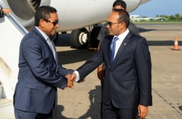 Former vice president Jameel (R) pictured with his former boss president Yameen. FILE PHOTO/PRESIDENT'S OFFICE