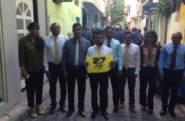 MDP lawmakers protest against the defamation bill designed to restrict freedom of expression and media in the Maldives. PHOTO/AHMED ANWAR (SIM)