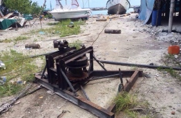 The winch that broke while it was being used to tow a boat ashore in Madifushi island. PHOTO/POLICE