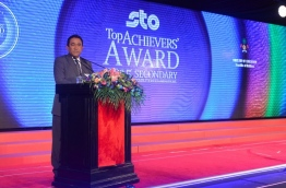 President Yameen speaks during the O' Level Top Achievers' Awards 2015 ceremony held on Wednesday. PHOTO/PRESIDENT'S OFFICE