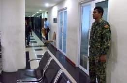Security placed outside the MMPRC office.