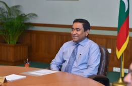 President Yameen smiles during a meeting with is cabinet last month. FILE PHOTO/PRESIDENT'S OFFICE