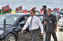 President Yameen arrives for the ceremony held to launch the land reclamation project for the new airport runway on July 25, 2016. MIHAARU FILE PHOTO/MOHAMED SHARUHAAN