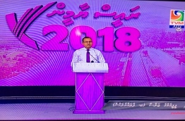 Defence minister Adam Shareef speaks during president Yameen's re-election campaign rally held in Fuvahmulah on Thursday.