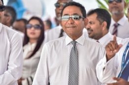 President Yameen looks on during the ceremony held to launch the land reclamation project for the new airport runway on July 25, 2016. MIHAARU FILE PHOTO/MOHAMED SHARUHAAN