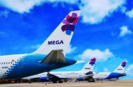 MEGA Maldives aircrafts pictured at the airport. PHOTO/MALDIVES TRAVELLER