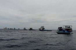 Fishing boats queue up near a MIFCO vessel. PHOTO/MIFCO