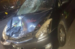 The badly damaged car that had collided with a motorbike in Hulhumale on Saturday evening.