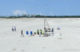 Borehole tests in Hulhumale's second phase in preparation for the development of 7000 housing units. PHOTO/HDC