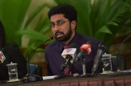 Home minister Azleen Ahmed during the press conference held by the social council at the President's Office on Sunday. MIHAARU PHOTO/MOHAMED SHARUHAAN