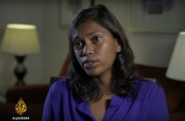 A screen grab of the Al Jazeera documentary 'Stealing Paradise' shows editor of the Maldives Independent news website Zaheena Rasheed during her interview with the Doh based broadcaster.