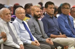 Faaris Maumoon (3rd L) pictured with his father Gayoom (2nd L) during a ceremony. MIHAARU FILE PHOTO/MOHAMED SHARUHAAN