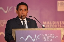 President Abdulla Yameen Abdul Gayoom speaks at the inauguration of the first Maldives Investment Forum held in Singapore in 2014. FILE PHOTO/PRESIDENT'S OFFICE