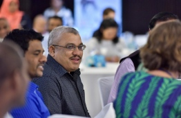 """Vice president Jihad smiles during the """"High Level Advocacy Forum on Tobacco Control in the Maldives"""" on Tuesday. MIHAARU PHOTO/NISHAN ALI"""