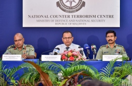 Defence minister Adam Shareef (C) speaking during thepress conference by the national counter terrorism centre on Thursday. MIHAARU PHOTO/NISHAN ALI