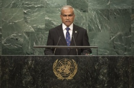 Maldives foreign minister Dr Mohamed Asim pictured during his address to the 71st UN General Assembly in New York on Saturday. PHOTO/UN