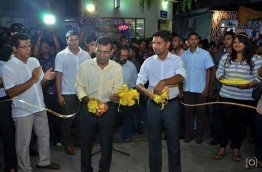 Nasheed (L) and Shifaz pictured during a MDP event. FILE PHOTO/MDP